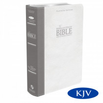 Platinum Remnant Study Bible KJV (Genuine Top-grain Leather Gray/White) King James Version