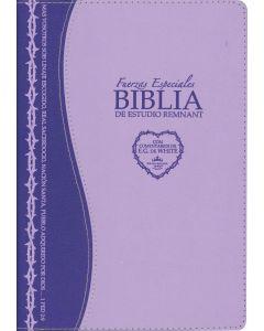 La Biblia De Estudio Remnant Piel Regenerada Fuerzas Especiales Lavanda RVR60 - Spanish Remnant Study Bible Bonded Leather Special Forces Lavender