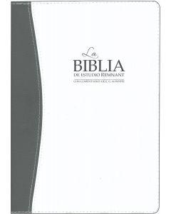 La Biblia De Estudio Remnant Piel Regenerada Blanca/Gris RVR60 - Spanish Remnant Study Bible Bonded Leather White/Gray